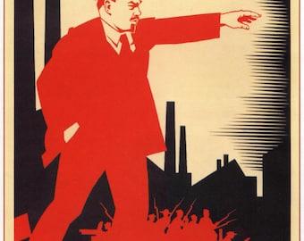Soviet propaganda print Lenin 1924 vintage USSR  repro