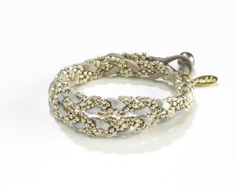 Everyday Bracelet - Stackable Bracelets - Elegant Boho Bracelet - Layering Bracelet - Leather Silver Wrap Bracelet - Bohemian Bracelet