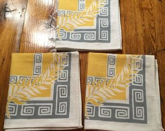 Vintage Mod Linen Napkins-Set of 3