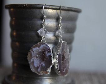 Sterling Silver Agate Geode Earrings