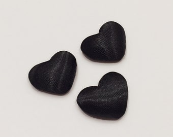 3 Puffy Heart Cabochons / Black Satin Heart Cabochons / 20 mm Cabochons / Black Satin Buttons / CA20NQ