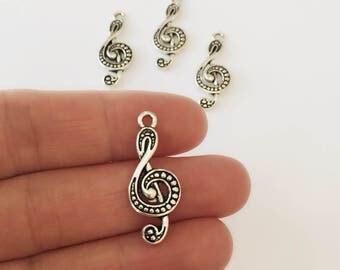 Music Symbol Silver Charms / Silver G Clef Charm Set of 4 / 32 x 12 mm Silver Music Pendants / Silver Music Charm Set / CH22