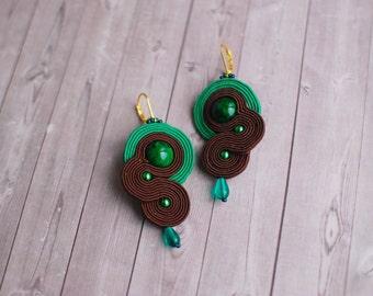 Soutache dangle earrings, Brown and green earrings, Embroidery earrings, Beaded earrings, Gift for her, Soutache jewelry, FREE SHIPPING