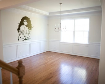 Artistic vector portrait about a Anonymous woman   Vinyl wall decal   Artistic mural collection for wall decor - Silhouette Collection