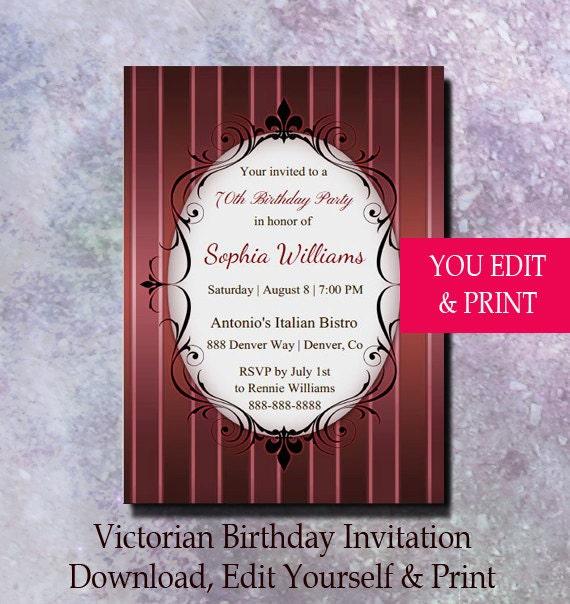 70th birthday invitation 70th birthday party invitation victorian il570xn filmwisefo