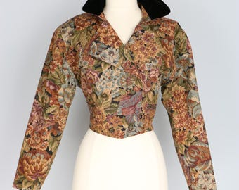 1970s Tapestry Fitted Short Cropped Jacket - Victorian Steampunk - XS/Small - Double Breasted - Velvet Collar - Back Tassel - Military Style