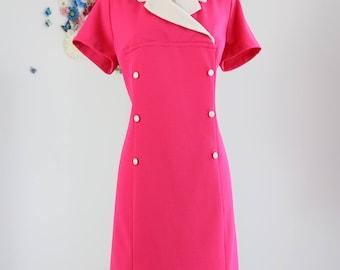 1960s Dress - Sheath Midi Dress - Pink Cream - Contrast Collar - Short Sleeve - Mad Men - Sexy Secretary Vintage Dress - Large/Extra Large
