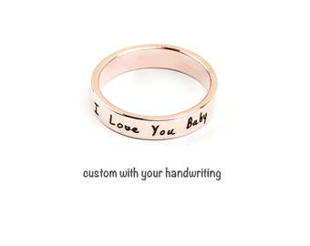 Custom Handwriting Ring, Handwriting Jewelry, Rose Gold Ring, Handwriting Ring, Handwritten Jewelry, Signature Jewelry, Personalized Ring