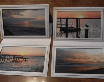 Sunrise-Sunset At the Beach Photo Notecards
