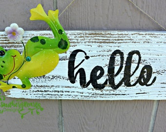 Hello Sign / Green Frog
