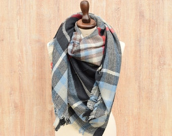 Plaid Blanket Scarf, Winter Scarf, Wool Blanket Scarf, Plaid Scarf, Tartan Scarf, Blanket Plaid Scarf, Oversized Scarf, Gift for Her