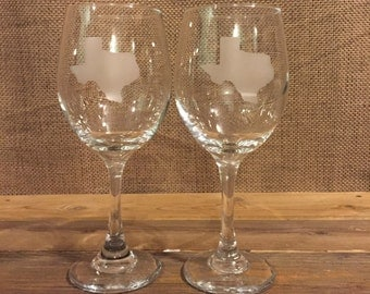 Texas etched wine glasses