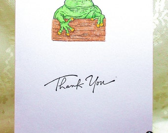 Frog on a Log Thank You Card