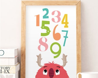 Nursery wall decor, Nursery print, Numbers print, Educational print, Educational art, Art for kids, Baby room, Baby room decor, Wall art