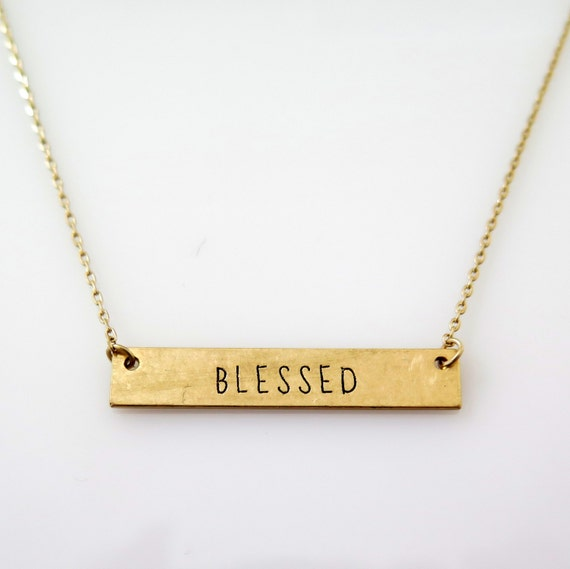Christian Jewelry, Christian Gift For Her, Religious Jewelry, Inspirational Gift, Gold Bar Necklace, Blessed Gold Bar Necklace