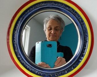Handmade Mirror, Pottery Mirror Frame, Round Mirror with Frame, Pottery Frame with Mirror