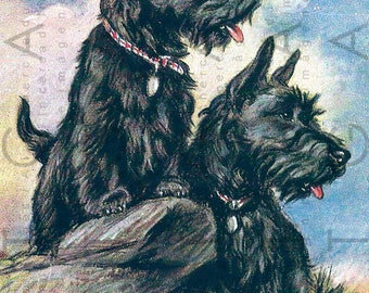 Patriotic SCOTTIES At The HIGHLANDS. Vintage Illustration Scottish Dog Couple. Scottie Terrier Dog Print. Digital Scottie Download.