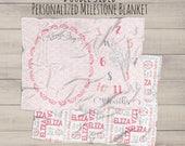 Milestone Blanket - Baby Monthly Milestone Blanket - Name Blanket - Baby Shower Gift - Monthly Photos - Personalized Name - Monthly Blanket