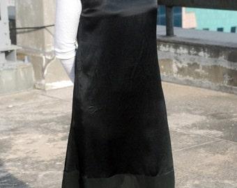 Minimalist Black Silk Dress / Mesh / H-Line dress