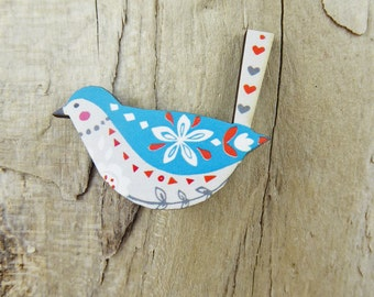 Blue Folk Bird Brooch