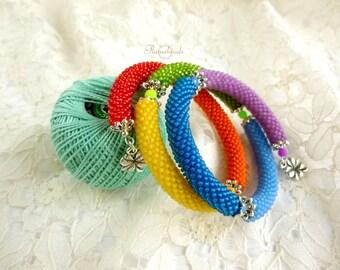 Double beaded bracelets, different colors, multi-row