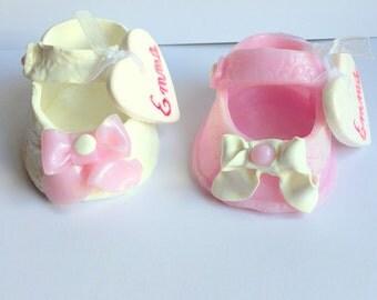 Handmade pair of Mini shoe/miniature/baptism/gift Godfather godmother/container lozenge/customizable/baptism/Pink/White/beige lace