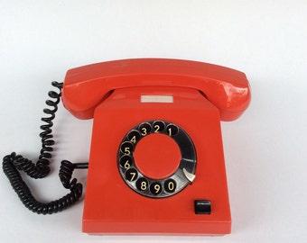 Vintage Retro Phone,Red Phone,Rotary phone,Desk Phone,Pop Art Phone.