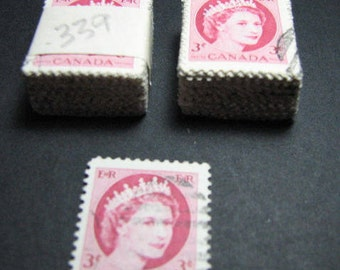Two hundred 1954 Canadian Queen Elizabeth three cent postage stamps