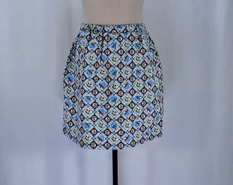 Vintage 60s 70s cherries plaid full mini skirt // Size S