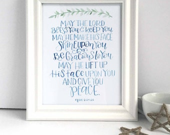 Customizable May The Lord Bless You Watercolor Print, May The Lord Bless You and Keep You, Scripture Verse Print, Bible Verse Print