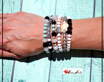 Bracelets multi-rank pearl style bohemian turquoise, black jewel boho chic bracelet buddha and tortoise jewelry bouddha happiness
