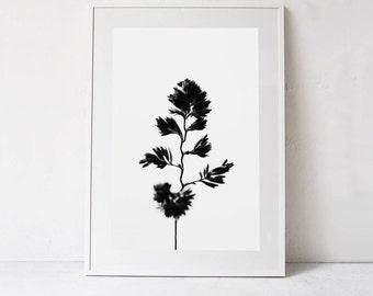 Botanical Art, Nature Art Print, Minimalist Photography Digital Download Art, Black and White Print, Botanical Printable Art, Digital Print