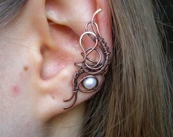 Natural pearl ear cuff, copper ear cuff, wire wrapped, no piercing ear cuff, freshwater pearl ear cuff, copper jewelry, wire wrap jewellery