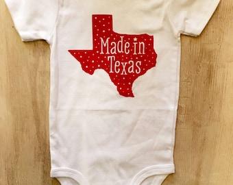 Made in Texas Screen Printed Baby Bodysuit Onesie
