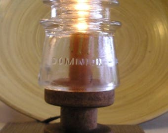 Dominion Glass Insulator Lamp Insulator Vintage Railroad Night Light