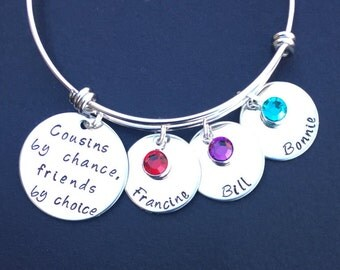 Cousins by chance friends by choice personalized bracelet, Cousin Bangle, Cousin Gift, Cousin Bracelet, Cousin Jewelry, Gifts for Cousins