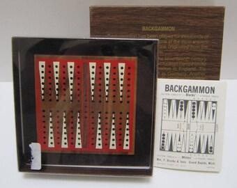 NEW Travel Backgammon Set Vintage Board Game Travel Games Walnut Handcrafted Wood Wooden Backgammon Board and Plastic Pegs Drueke & Sons USA