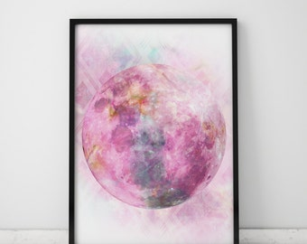 Full Moon Print Pink Wall Art Moon Print Big Poster Large Prints Pink Print Big Prints Pink Art Pink Moon Pink Nursery Spiritual