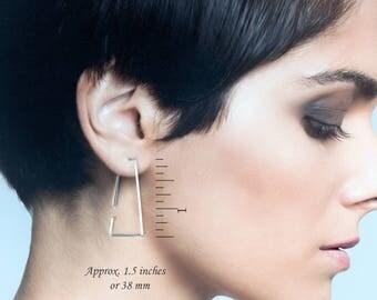 Sterling Silver Triangle Earrings, Silver Geometric Hoops, Modern Hoop Earrings,Silver Threaders,Triangle Earrings,Edgy Geometric Earrings,