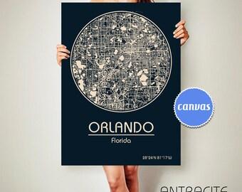 ORLANDO Florida CANVAS Map Orlando Florida Poster City Map Orlando Florida Art Print Orlando Florida