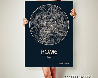 ROME Italy CANVAS Map Rome Italy Poster City Map Rome Italy Art Print Rome Italy