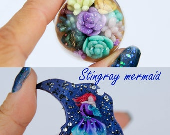 OOAK Brooch (people size): Succulent princess frog / Stingray mermaid