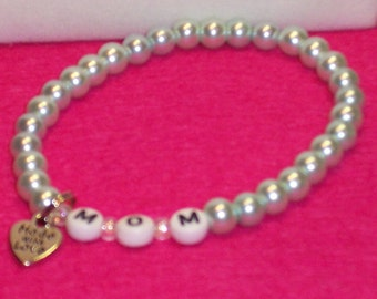 Mom's Bracelet.Remember Mom on her Special Day.Mint Green 6MM glass Pearls