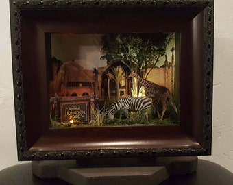Animal Kingdom Lodge-LIGHTED - Disney Hotels Collection, Disney, Pop Art, 3D, Shadowbox, One-of-a-Kind, Made to order, Handmade