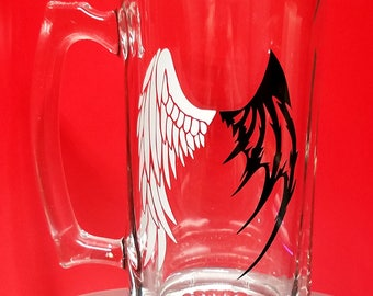 26oz ANGEL and DEMON WINGS Beer Mugs
