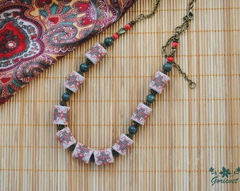 Serpentine necklace boho jewelry gift for women stone necklace long chain necklace green red fabric necklace embroidered jewelry gifts wife