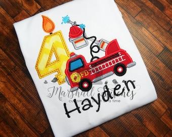 Boy's Firetruck Birthday Shirt In Numbers 1-9!/ Boy's Firetruck Birthday Shirt/ Boy's Personalized Firetruck Shirt/ Boy's Firetruck Party