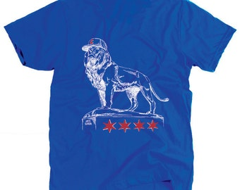 2016 Chicago Cubs Shirt -  Lion Statue - Art Institute of Chicago Lion Bronze - Cubs Hat Cap - Chicago Flag - Stars