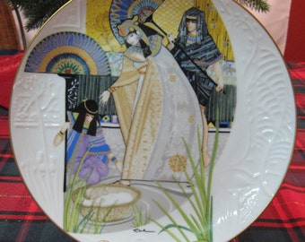 "Vintage Knowles collector Plate ""The Pharaoh's Daughter and Moses' 1985 Gold trimmed. 10"" diameter."