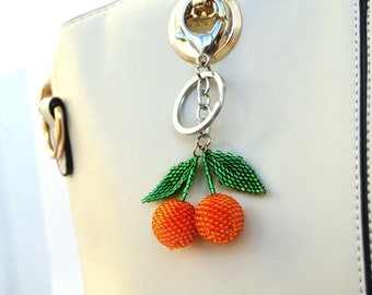 Designer purses summer outdoors Fruit bag charm Orange keychain Beaded keychain Summer accessories Mandarin keychain Tangerine Handmade